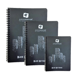Alex Schoeller - Alex Schoeller Black Notebook Siyah Defter Spiralli 120g 60 Yaprak
