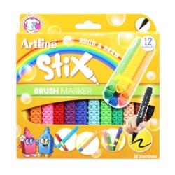 Artline - Artline Stix Brush Marker 12 Renk
