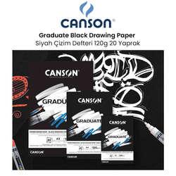Canson - Canson Graduate Black Drawing Paper Siyah Çizim Defteri 120g 20 Yaprak