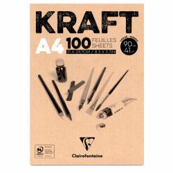 Clairefontaine - Clairefontaine Kraft Çizim Blok 90g 100 Yaprak A4