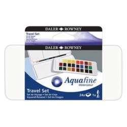 Daler Rowney - Daler Rowney Aquafine Travel Set Fırça Hediyeli Plastik Kutu 24lü