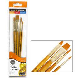 Daler Rowney - Daler Rowney Simply Gold Taklon Synthetic 4ü Fırça Seti Kod:401