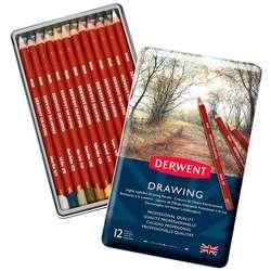 Derwent - Derwent Drawing Yağlı Eskiz Kalemi 12li Set