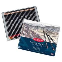 Derwent - Derwent Tinted Charcoal Sulandırılabilen Renkli Füzen Kalem 24lü