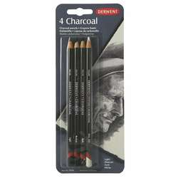 Derwent - Derwent Charcoal Pencils Füzen Kalem 4lü Set