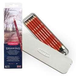 Derwent - Derwent Drawing Yağlı Eskiz Kalemi 6lı Set Metal Kutu