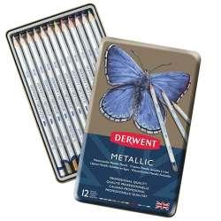 Derwent - Derwent Metallic Pencil Metalik Boya Kalemi 12li Set
