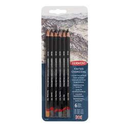 Derwent - Derwent Tinted Charcoal Sulandırılabilen Renkli Füzen Kalem 6lı Set
