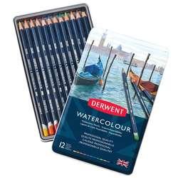 Derwent - Derwent Watercolour Pencil Sulu Boya Kalemi Seti 12li Teneke Kutu