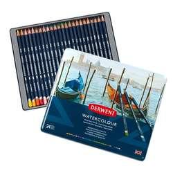 Derwent - Derwent Watercolour Pencil Sulu Boya Kalemi Seti 24lü Teneke Kutu