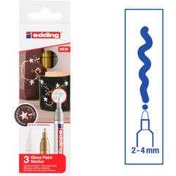 Edding - Edding 750 Gloss Paint Marker Metalik Renkler 2-4mm 3lü Set