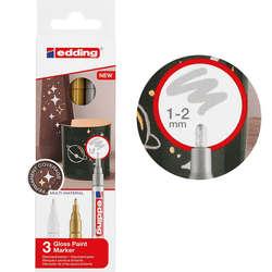 Edding - Edding 751 Gloss Paint Marker Metalik Renkler 1-2mm 3lü Set