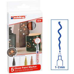 Edding - Edding 751 Gloss Paint Marker Metalik Renkler 1-2mm 5li Set