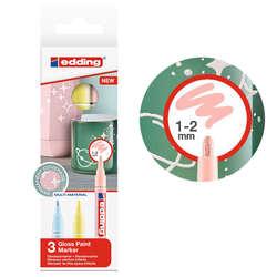 Edding - Edding 751 Gloss Paint Marker Pastel Renkler 1-2mm 3lü Set