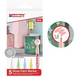 Edding - Edding 751 Gloss Paint Marker Pastel Renkler 1-2mm 5li Set