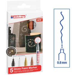 Edding - Edding 780 Gloss Paint Marker Ana Renkler 0.8mm 5li Set
