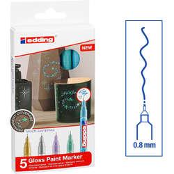 Edding - Edding 780 Gloss Paint Marker Metalik Renkler 0.8mm 5li Set