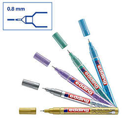 Edding - Edding 780 Gloss Paint Marker Metalik Renkler 0.8mm 5li Set (1)