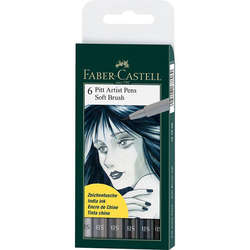 Faber Castell - Faber Castell 6 Pitt Artist Pen Fırça Uçlu Çizim Kalemi Soft Brush 167806