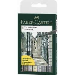 Faber Castell - Faber Castell 8 Pitt Artist Pen Fırça Uçlu Çizim Kalemi Soft Brush