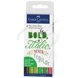 Faber Castell - Faber Castell Pitt Artist Pen Kaligrafi Setleri 6lı Green Set