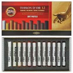 Koh-i-Noor - Koh-i-Noor Toison Dor Soft Pastel Köşeli 12li Kahverengi Tonlar (8592B)