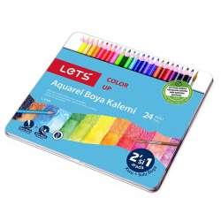 Lets - Lets 24 Renk Aquarel Boya Kalemi Metal Kutu L-4724