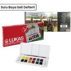 Lukas - Lukas Sulu Boya Takımı Tablet 12 Renk Defterli