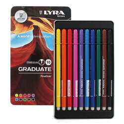 Lyra - Lyra Graduate Fineliner İnce Uçlu Kalem 0.5mm 10lu Set