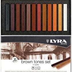 Lyra - Lyra Kahve Tonlar Soft - Toz Pastel Boya Seti 12 Renk 5641121
