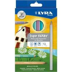 Lyra - Lyra Super Ferby Kuru Boya Kalem Seti 12li Set Karton Kutu Metalik Tonlar