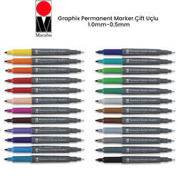 Marabu - Marabu Graphix Permanent Marker Çift Uçlu 1.0mm-0.5mm (1)