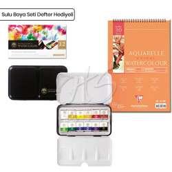 Mungyo - Mungyo Professional Sulu Boya Seti 12li Yarım Tablet Defter Hediyeli