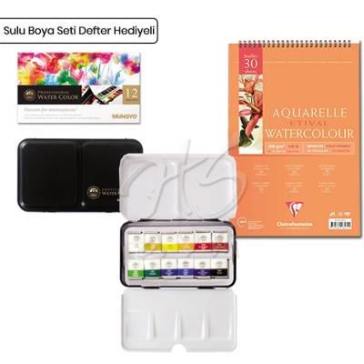 Mungyo Professional Sulu Boya Seti 12li Yarım Tablet Defter Hediyeli