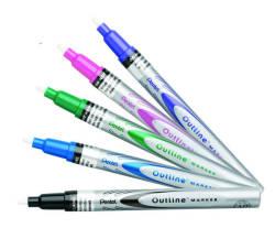 Pentel - Pentel Outline Kontür Markörü Metalik Kalem