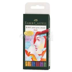 Faber Castell - Faber Castell 6 Pitt Artist Pen Fırça Uçlu Kalem Basic Tones