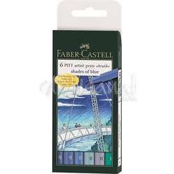Faber Castell - Faber Castell 6 Pitt Artist Pen Fırça Uçlu Kalem Blue of Shades