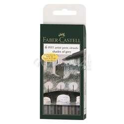 Faber Castell - Faber Castell 6 Pitt Artist Pen Fırça Uçlu Kalem Grey Tones