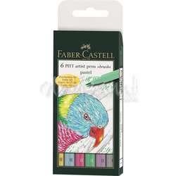 Faber Castell - Faber Castell 6 Pitt Artist Pen Fırça Uçlu Kalem Pastel Tones