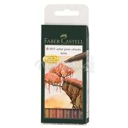 Faber Castell - Faber Castell 6 Pitt Artist Pen Fırça Uçlu Kalem Terra Tones