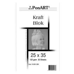 Ponart - Ponart Kraft Blok Resim Defteri 125g 30 Yaprak 25x35 10 628 126