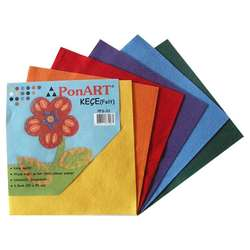 Ponart - Ponart Renkli Keçe (Felt) 25x25cm Karışık 6 Renk Kod: PFS-01