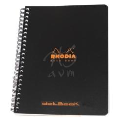 Rhodia - Rhodia Basic Noktalı Defter Siyah Kapak Spiralli 80g 80 Yp 16x21