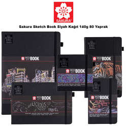 Sakura - Sakura Sketch Book Siyah Kağıt 140g 80 Yaprak