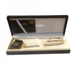 Scrikss - Scrikss 35 Dolmakalem + Tükenmez Kalem Beyaz Altın Kalem Seti