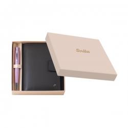 Scrikss - Scrikss DR 3202-C1/2 Soft Deri Cep Ajandası Haki + 62 Tükenmez Kalem Pembe Set