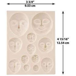 Sculpey - Sculpey Flexible Push Mold Esnek Model Kalıbı Art Doll Faces APM34 (1)