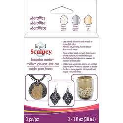 Sculpey - Sculpey Sıvı Pişmiş Kil 3lü Set 3x30ml Metallics ALSMET1