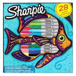 Sharpie - Sharpie Fine Permanent Marker 28li Karışık Kutu Balık