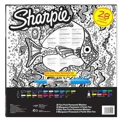 Sharpie - Sharpie Fine Permanent Marker 28li Karışık Kutu Balık (1)